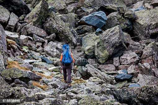istock Young woman is hiking in highlands of Altai mountains, Russia 618858446