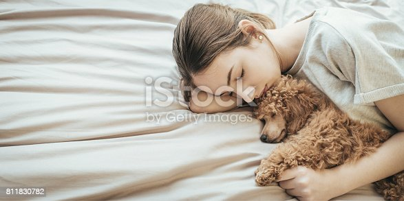 istock Young woman is lying and sleeping with poodle dog in bed. 811830782