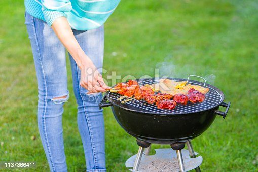 696841580 istock photo Young woman is making meat barbecue in the garden on the green grass - cooking healthy organic and non gmo food and family concept - chicken, beef, lamb and pork real BBQ with smoke 1137366411