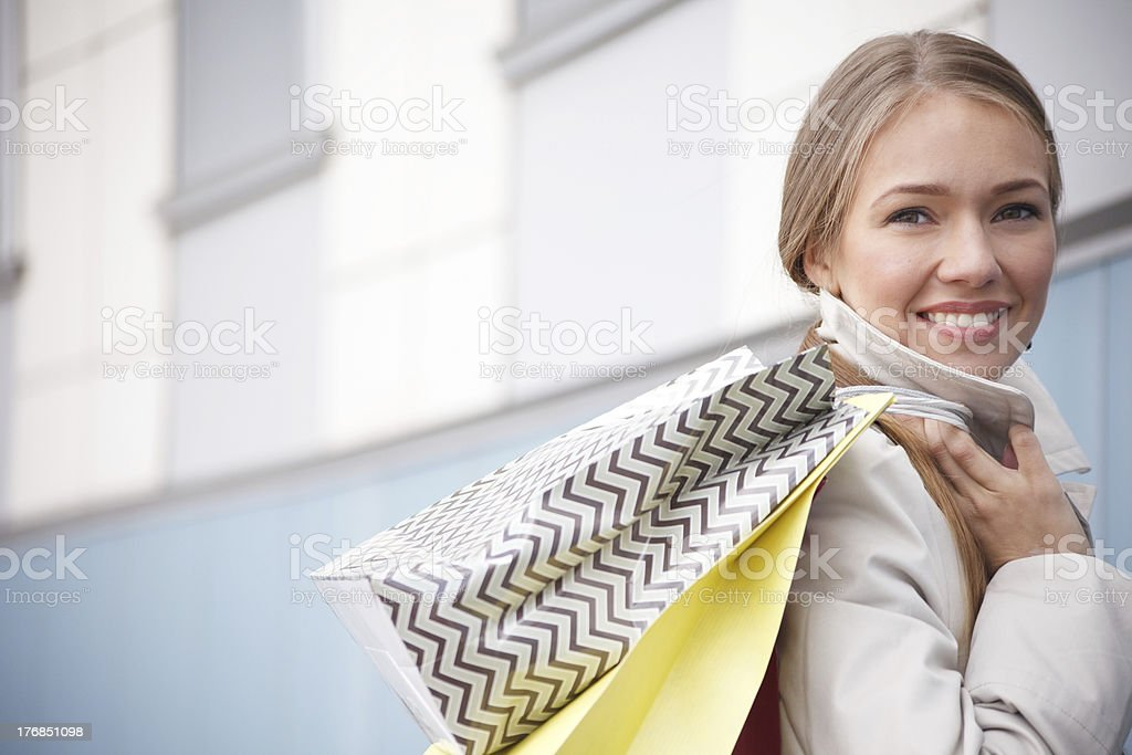 Young woman is shopping royalty-free stock photo