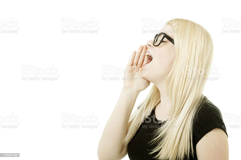 young woman is shouting out royalty-free stock photo