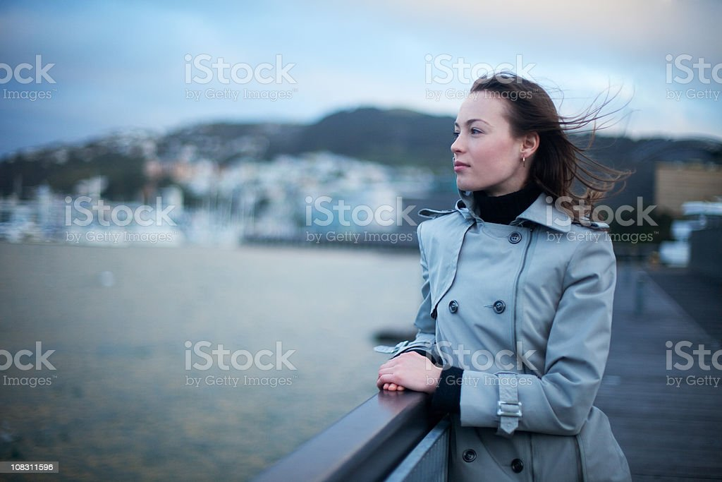 Young woman is waiting royalty-free stock photo