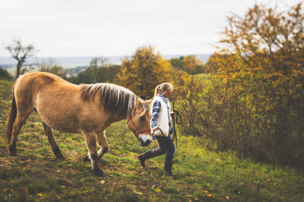 Young woman is walking with her horse in the woods on a cool autumn day stock photo