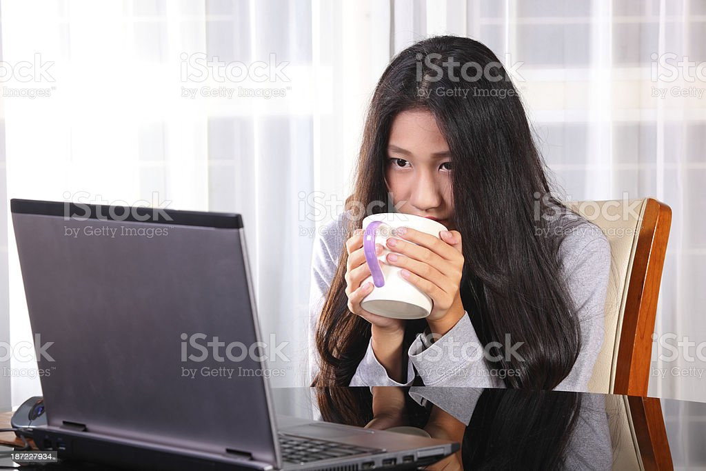 young woman is working royalty-free stock photo