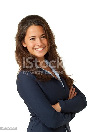 happy beautiful girl on a white background