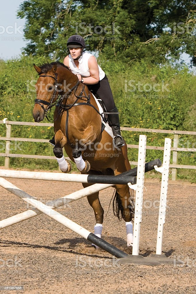 Young woman jumping a fence on a horse stock photo