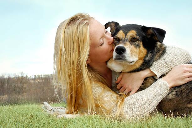 junge frau küssen deutscher schäferhund hund außerhalb - hunde aus dem tierheim stock-fotos und bilder