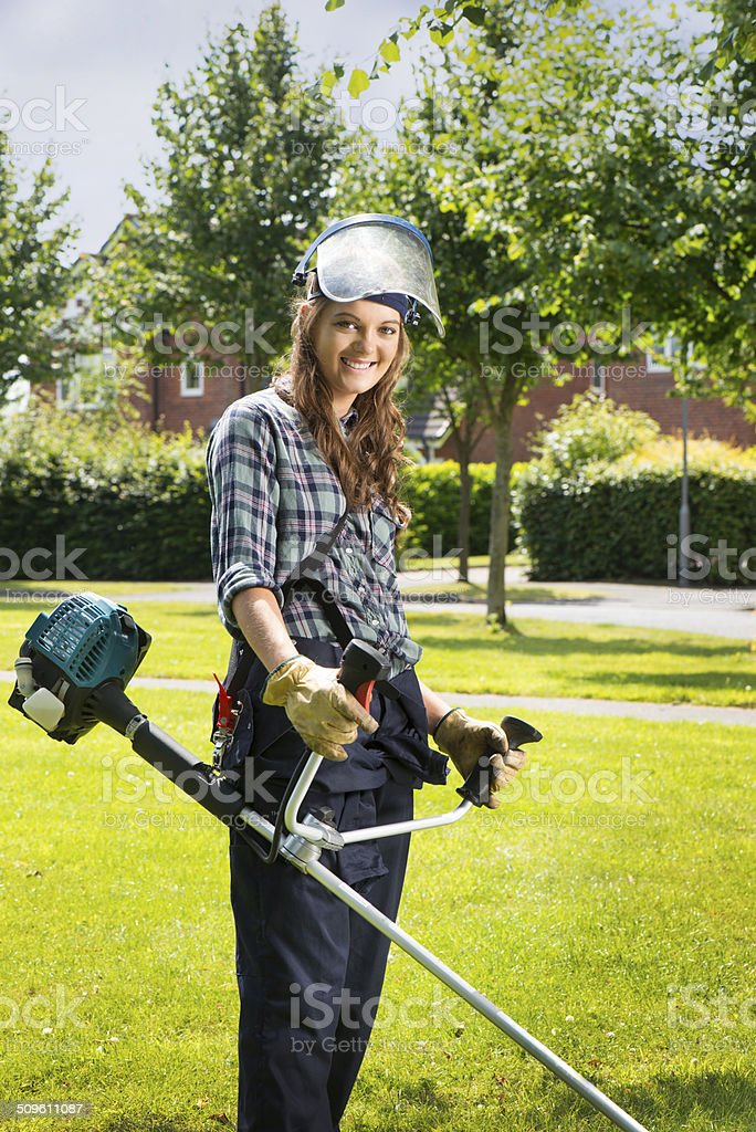 young woman landscape gardener royalty-free stock photo