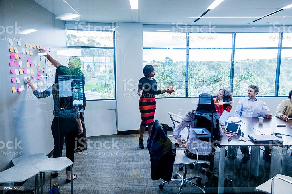 Young Woman Leads a Brainstorming Meeting stock photo