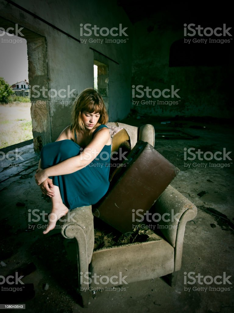 Young woman leaves home royalty-free stock photo
