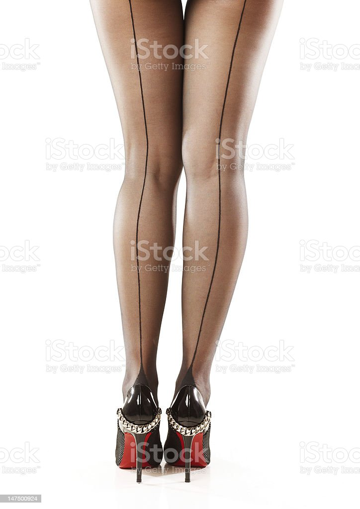 Young woman legs in stockings stock photo