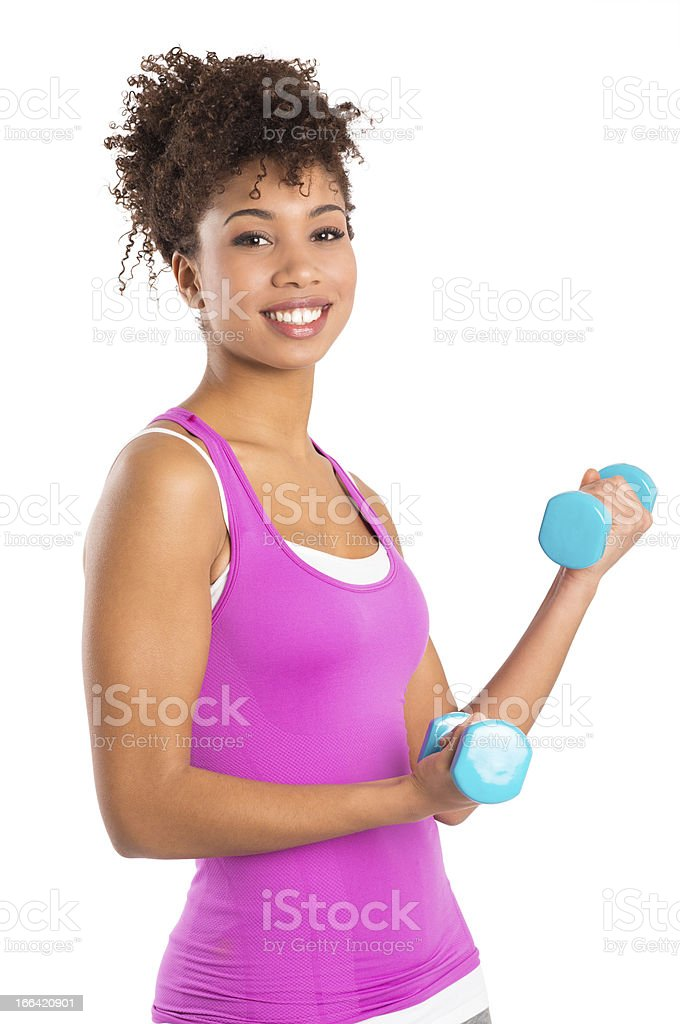 Young Woman Lifts Weights royalty-free stock photo
