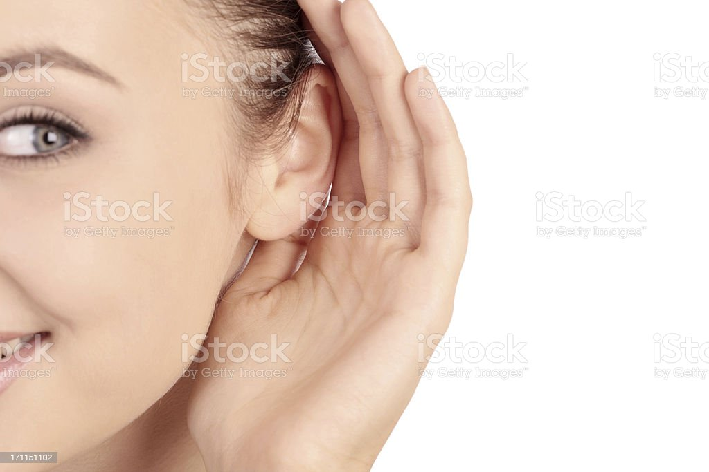 young woman listening royalty-free stock photo