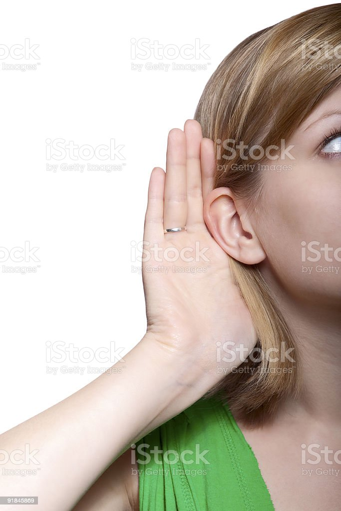 young woman listening to gossip royalty-free stock photo