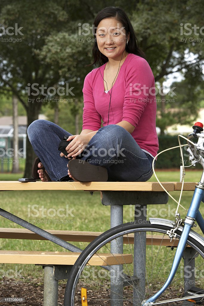 Young woman listening to music (XXL) royalty-free stock photo