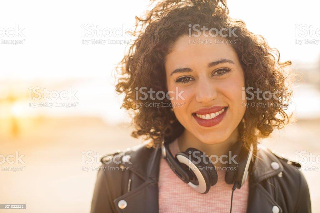 Young woman looking at camera. stock photo