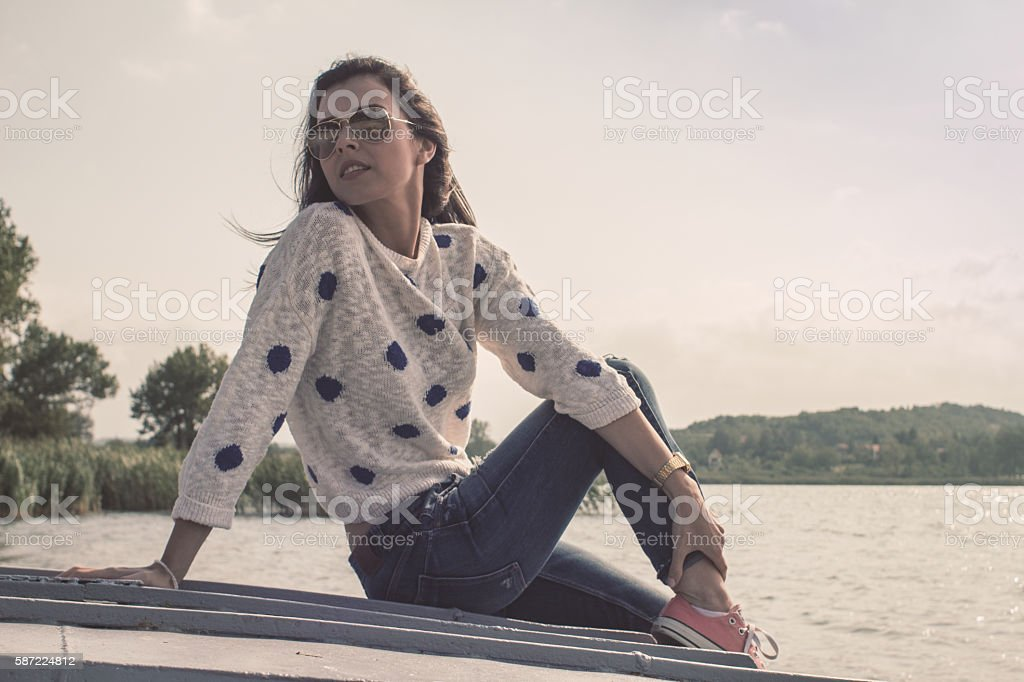 Young woman looking into distance stock photo