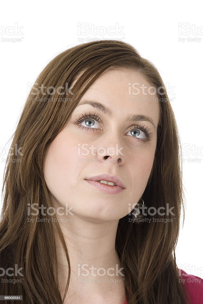 young woman looking up royalty-free stock photo