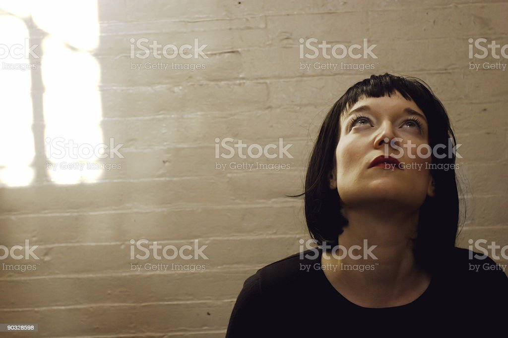 young woman looking up - space for copy royalty-free stock photo