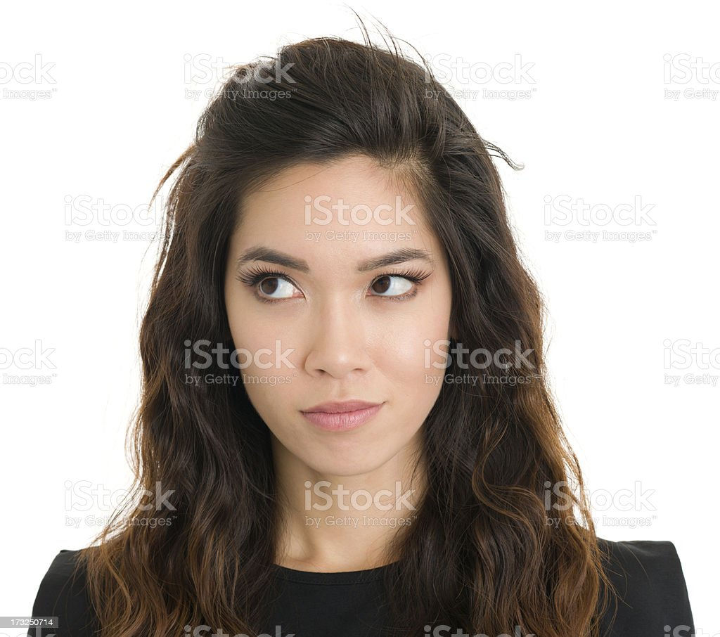 Young Woman Looks Sideways stock photo