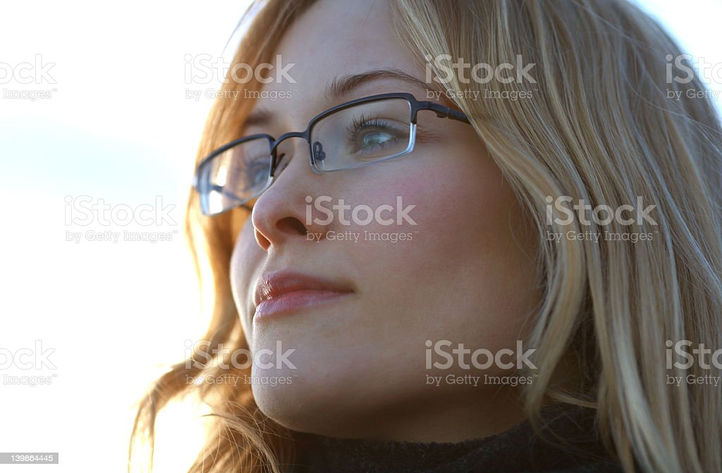 Young Woman lost in deep thought royalty-free stock photo