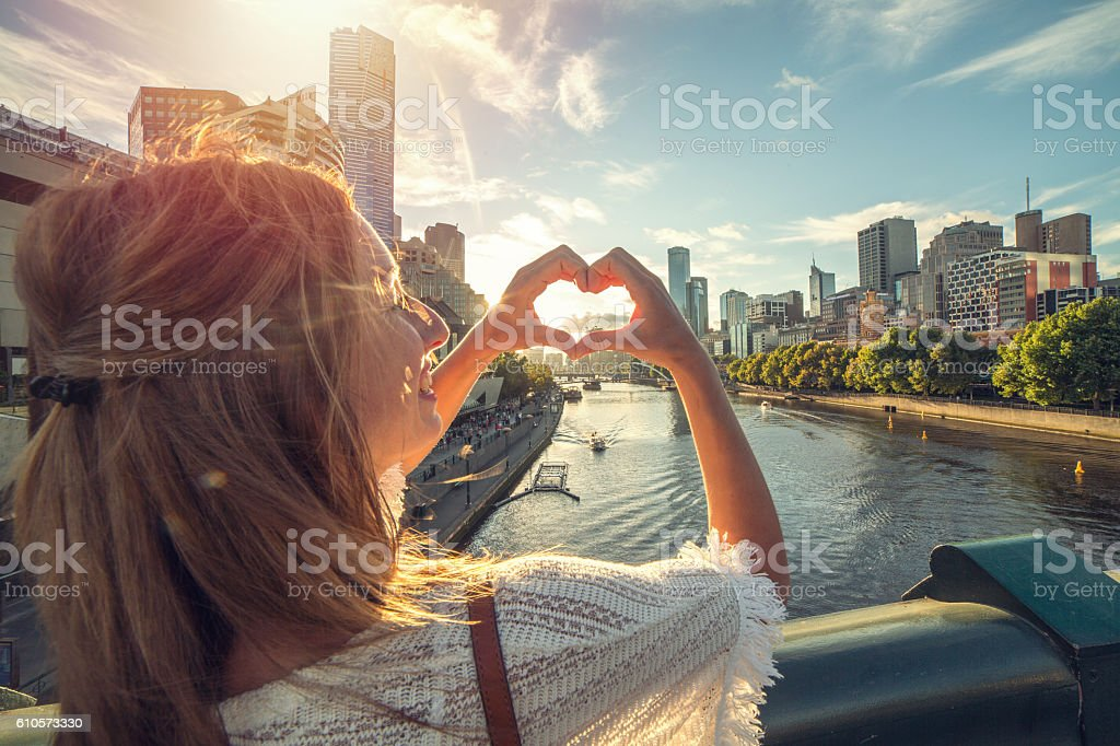 Young woman loving Melbourne, Australia stock photo