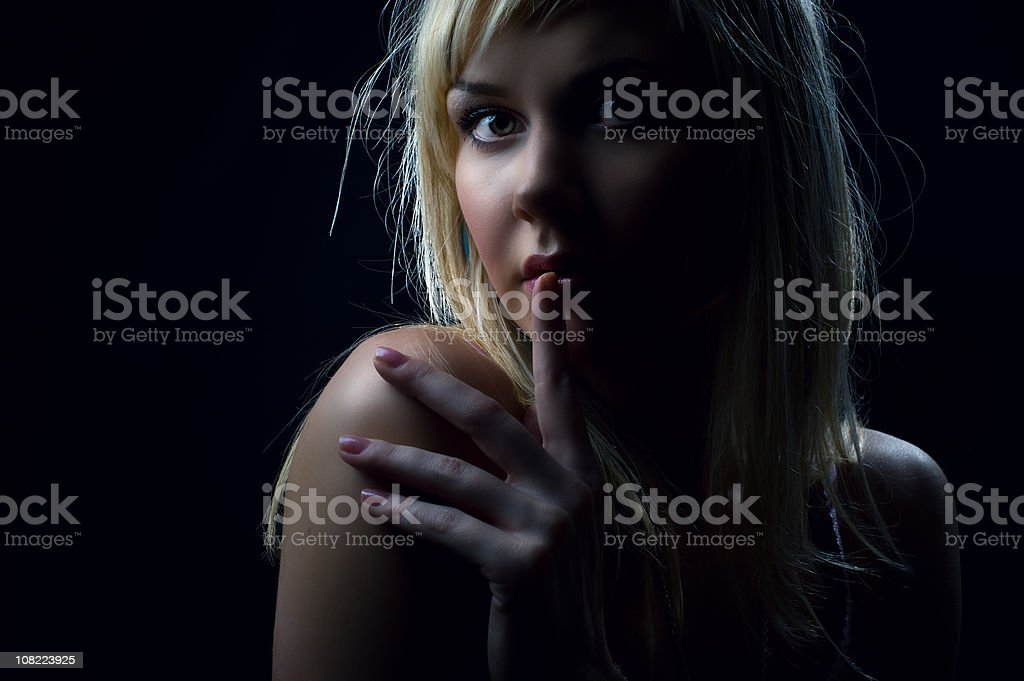 Young Woman, Low Key stock photo