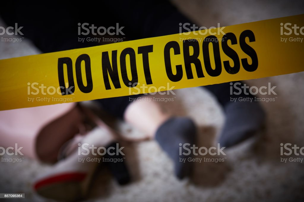 young woman lying dead stock photo