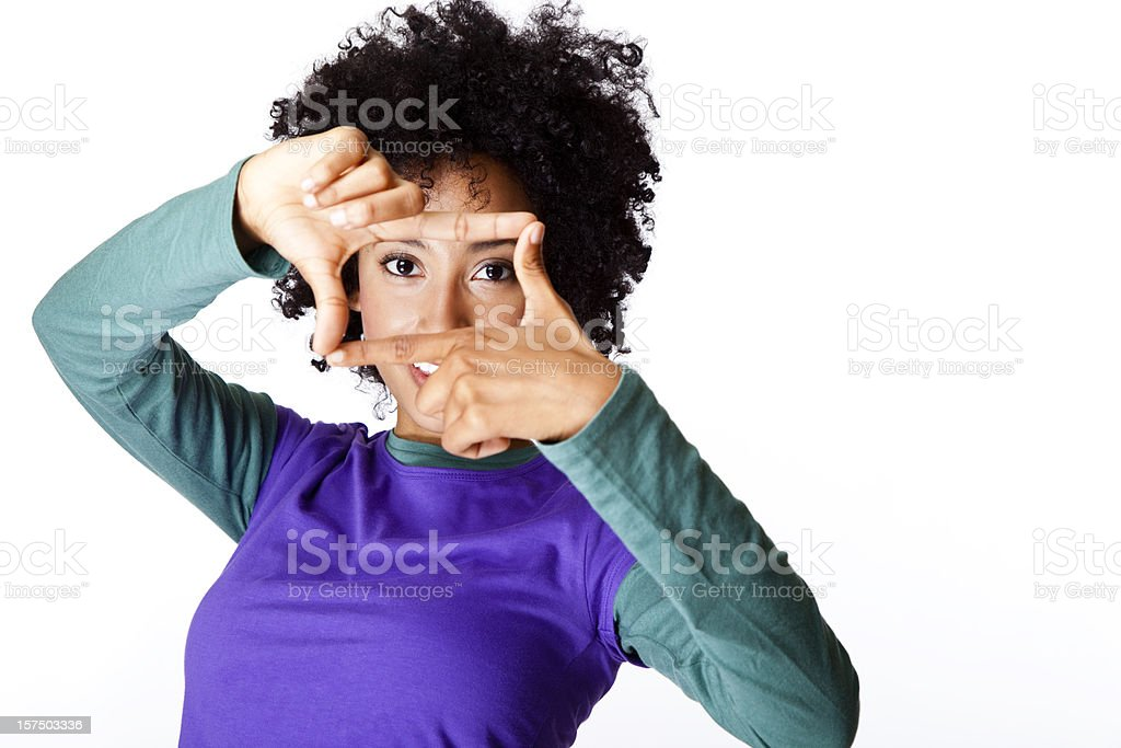 young woman making a square frame with her fingers royalty-free stock photo