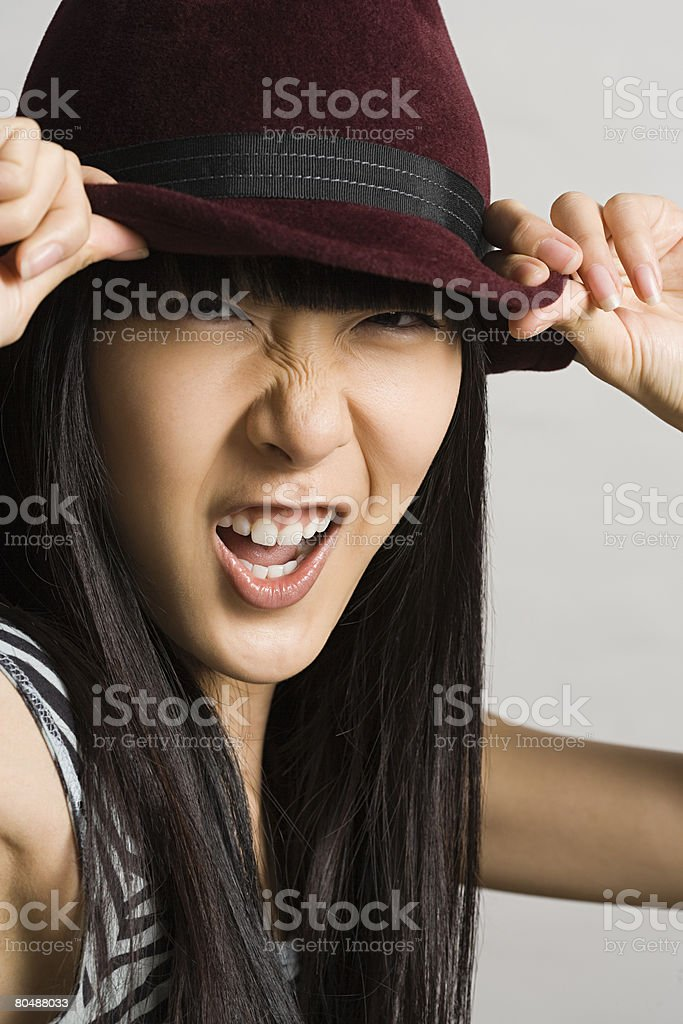 Young woman making faces royalty-free stock photo