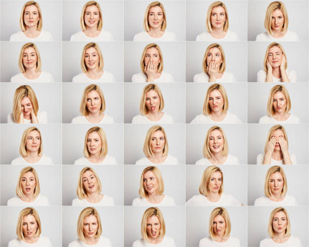 young woman making facial expressions - facial expression stock pictures, royalty-free photos & images