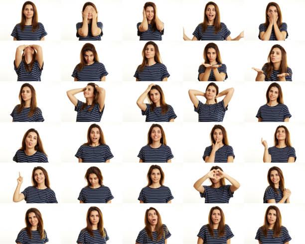 젊은 여자 만들기 얼굴 표정 - 시리즈 일부 뉴스 사진 이미지