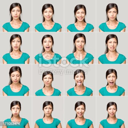 Pretty young woman making sixteen different facial expressions. All the images have been set against a light gray background. The young woman wearing a green t-shirt. Some of her expressions include happiness, anger, boredom, thoughtful and worry.