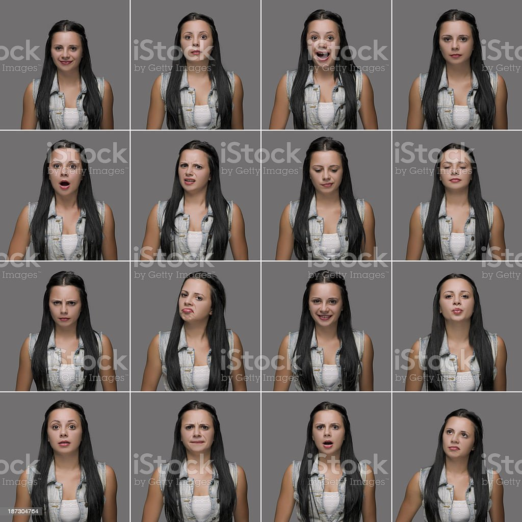 Young woman making sixteen different facial expressions