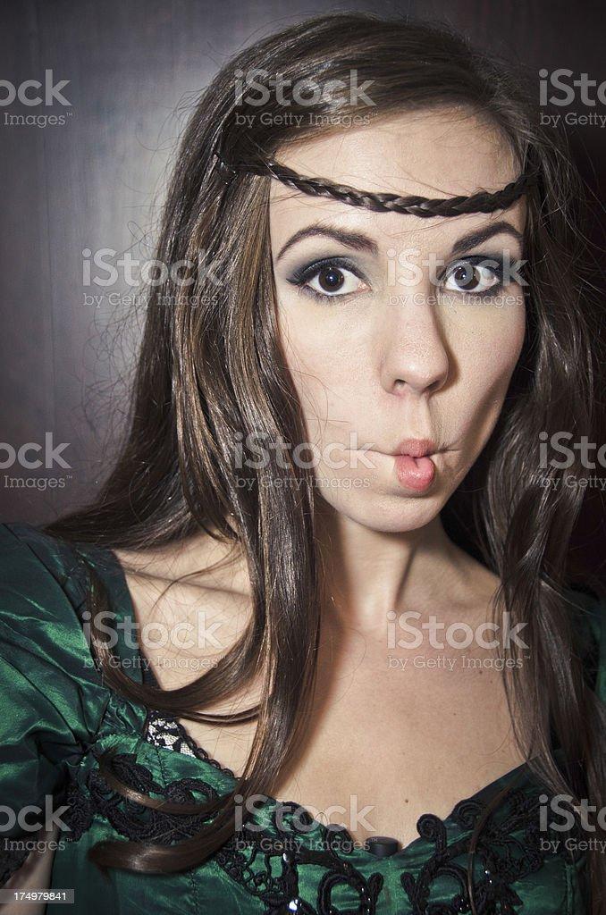 Young Woman Making Fish Lips stock photo