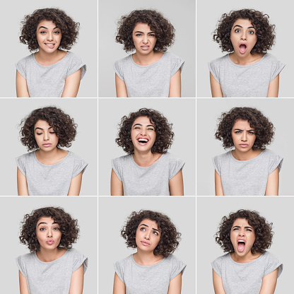 Young woman making nine different facial expressions, studio shot. Taken with Hasselblad 50C and developed from Raw