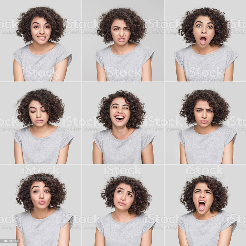 Young woman making nine different facial expressions​​​ foto