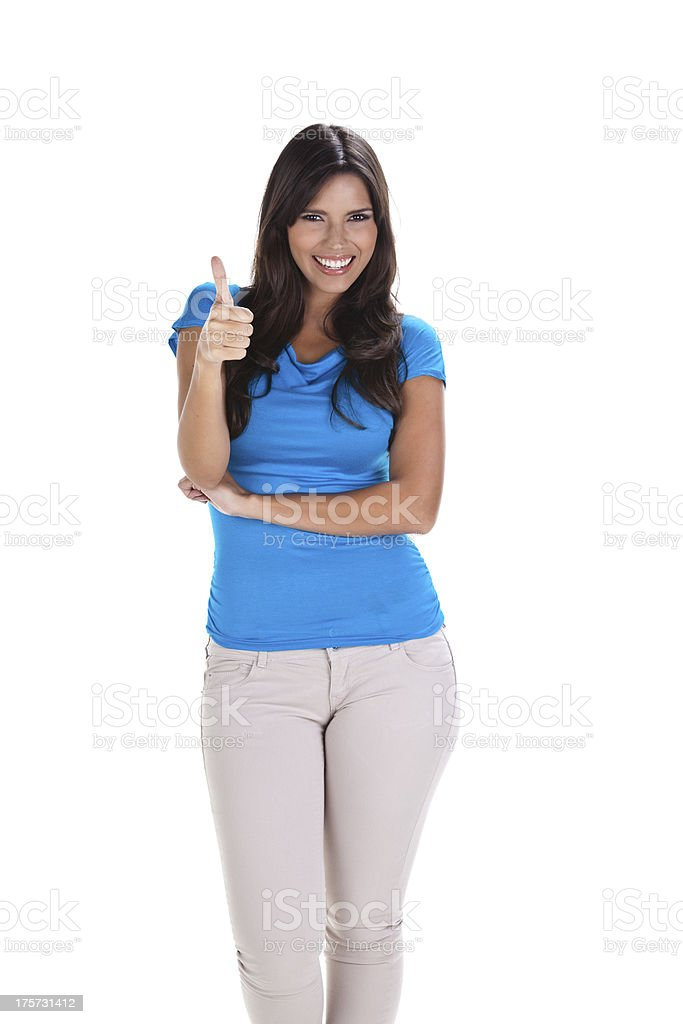 Young Woman Making Thumbs Up royalty-free stock photo