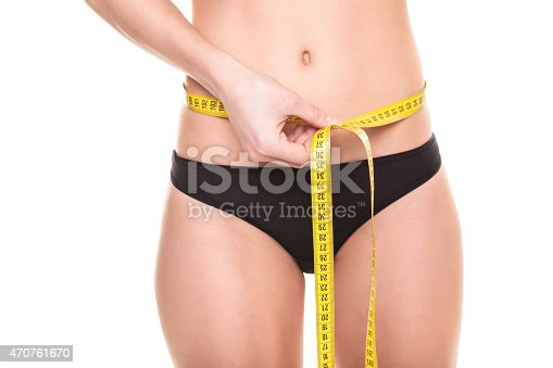 91837830istockphoto Young Woman measuring her waist - Stock Image 470761670