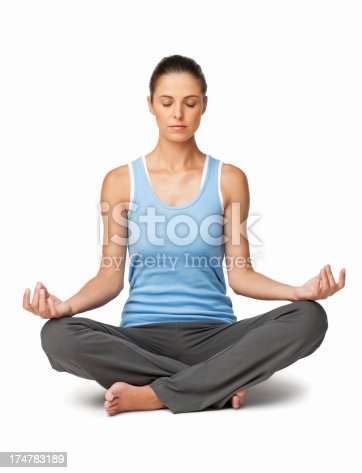 istock Young woman Meditating - Isolated 174783189