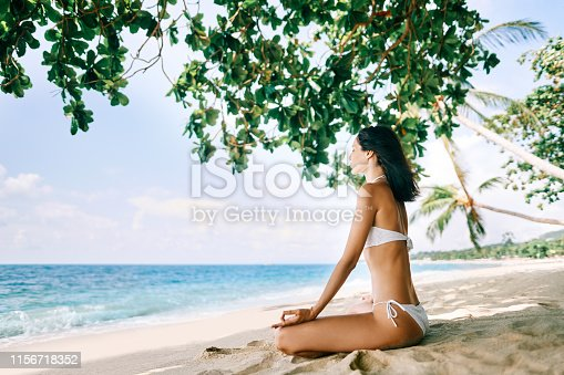 istock Young woman meditating on tropical sandy beach under mangrove tree 1156718352