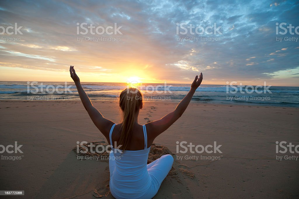 Young woman meditating royalty-free stock photo