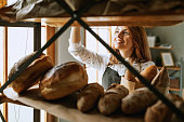 Young woman in bakery shop
