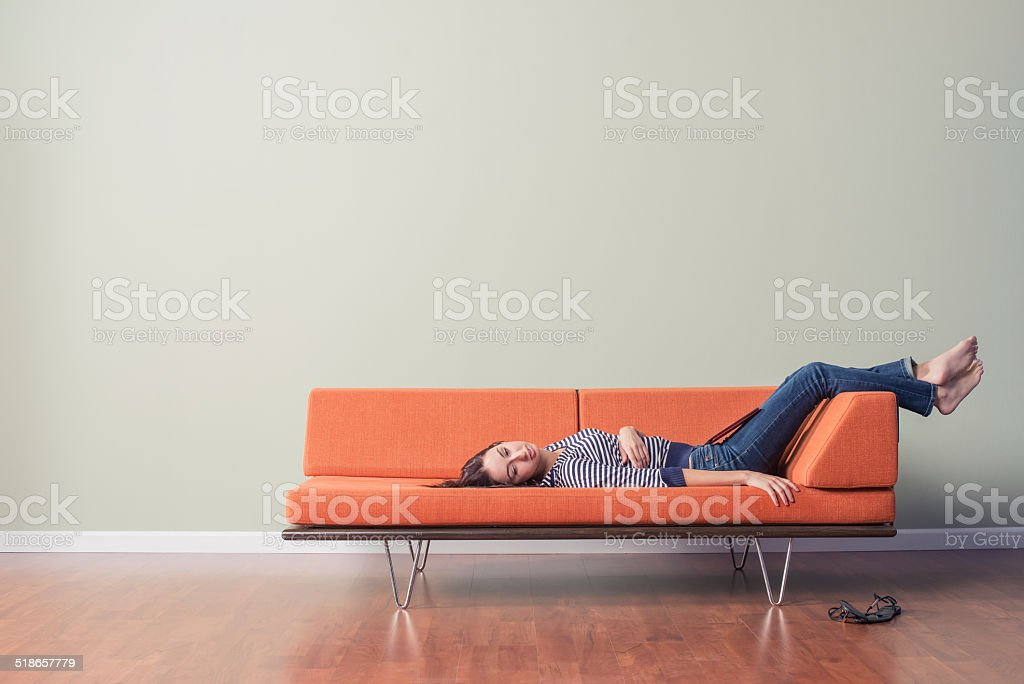 Young Woman Napping stock photo