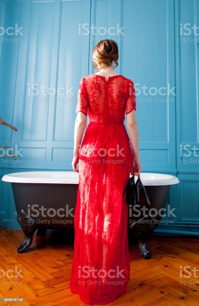 young woman near bath stock photo