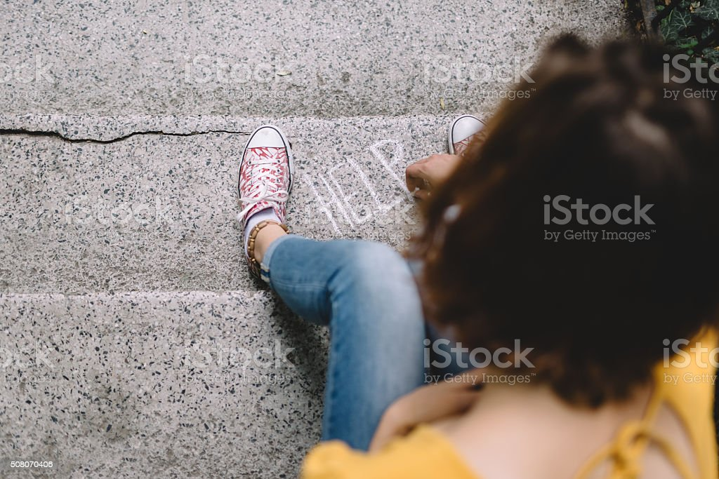 Young woman needs help stock photo