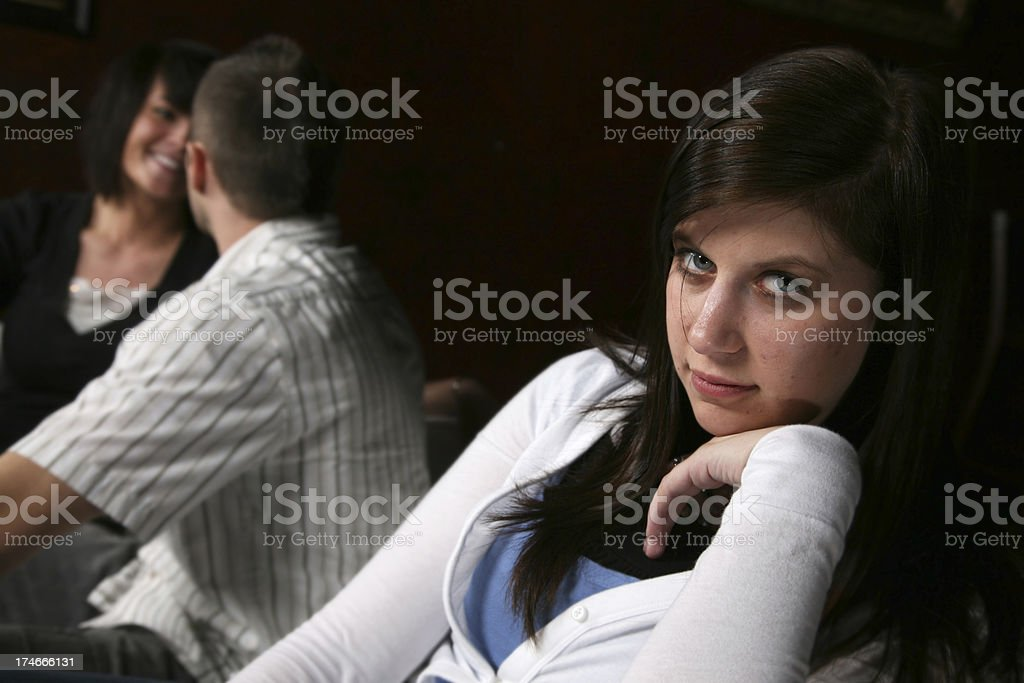 Young Woman Not Happy About Other Couple royalty-free stock photo