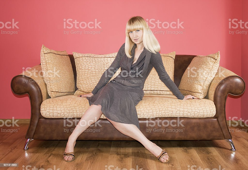 Young Woman on a sofa royalty-free stock photo