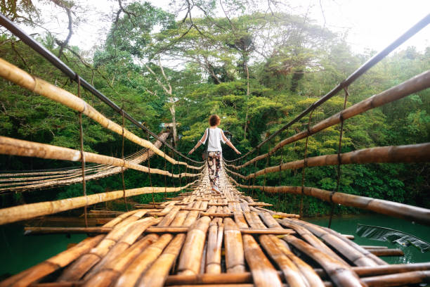 Young woman on bamboo bridge in Bohol, Philippines Back view of young woman on suspension wooden bamboo bridge across Loboc river in jungle. Vacation on tropical island. Bohol, Philippines footbridge stock pictures, royalty-free photos & images