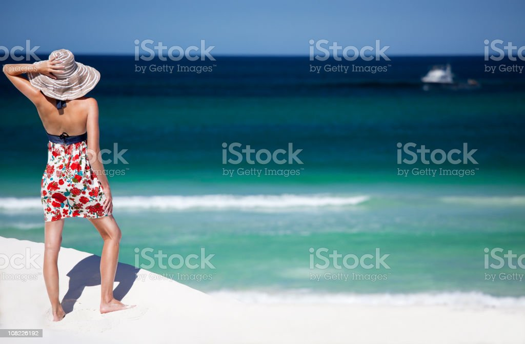 Young Woman on Beach stock photo